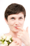 Finger at lips Royalty Free Stock Photos