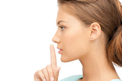 Finger on lips Royalty Free Stock Photos