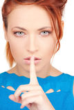 Finger on lips Royalty Free Stock Photo