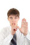 Finger on Lips in Silence Gesture Royalty Free Stock Images