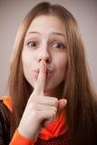 Finger on Lips, Tsss Stock Image