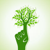 Finger make Abstract Tree Design. Vector illustration Stock Image
