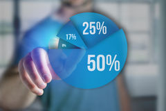 Finger of a man pointing on a blue survey graph interface - Tech Royalty Free Stock Photo