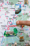 Finger on map near Compiègne in France Royalty Free Stock Photo