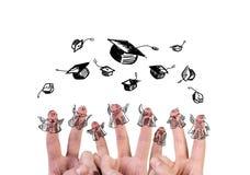 Finger mit Junggesellehut Stockfotografie