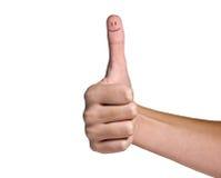 Finger mit Lächeln Stockfoto