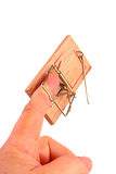 Finger in a mousetrap Royalty Free Stock Images