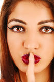 Finger on mouth. Stock Images