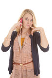 Finger by mouth phone Royalty Free Stock Photos