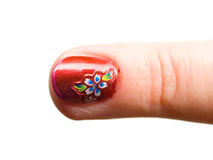 Finger nail with pattern Royalty Free Stock Photography