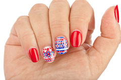 Finger nail with pattern Stock Photography