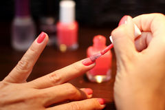 Finger nails painting Royalty Free Stock Photo