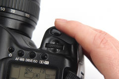 Finger is near the trigger button is digital camera close up Royalty Free Stock Image