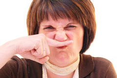 Finger, nose, smell, person. Stock Image