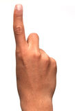 Finger: one. Hand holding up one finger pointing up for success Stock Image