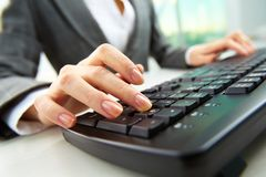 Finger over button Royalty Free Stock Photo