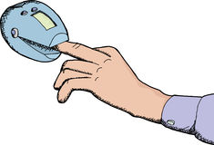 Finger in Oximeter. Cartoon of finger inside heart rate monitor device Royalty Free Stock Photo
