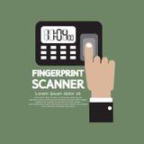 Finger på fingeravtryckbildläsarapparaten Fotografering för Bildbyråer