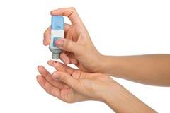 Finger paciente de la diabetes de la sangre de la carne para hacer glucosa sangre llana Fotos de archivo