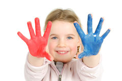 Finger paint. Full isolated studio picture from a young child with finger paint Stock Images