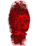 Finger Paint. 3D render illustration of fingerprint made of thick, red paint Royalty Free Stock Photos