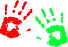 Finger paint game preschool children hand paint.  Royalty Free Stock Image