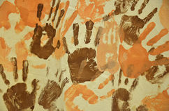 Finger paint hand prints Stock Images