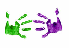 Finger painted handshake. Business handshake done with finger painting Stock Photos