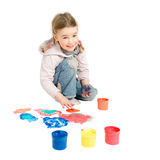 Finger Painting. Studio picture from a young child with finger paint royalty free stock photos
