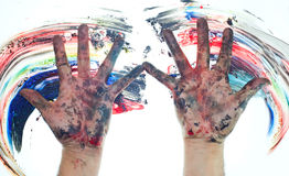 Finger painting concept Stock Images