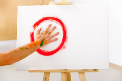 Finger painting paint with palms Stock Photo