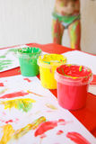 Finger paints in bright colors Stock Photo