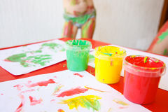 Finger paints in bright colors Royalty Free Stock Images