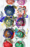 Finger paints in an egg crate for art Royalty Free Stock Photography