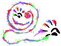 Finger Paints Smile. Art hand print symbol stylized, vector illustration, horizontal, isolated Stock Image