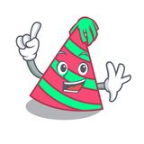 Finger party hat mascot cartoon. Vector illustration Stock Photos