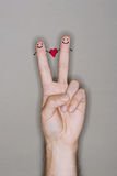 Finger People drawn on caucasian hand Royalty Free Stock Images