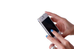 Finger on phone Stock Photography