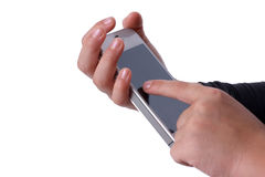 Finger on phone Royalty Free Stock Photography