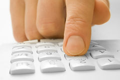 Finger with phone royalty free stock images