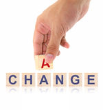 Finger pick a wood letters of Change and Chance word concept Royalty Free Stock Image