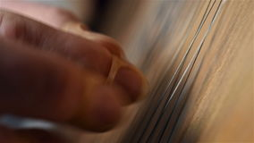 Finger Playing On Bandura. Ukrainian Musical Instrument. Close Up stock video footage