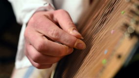 Finger Playing On Bandura. Ukrainian Musical Instrument. Close Up stock footage
