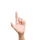 Finger point. Isolated white background Royalty Free Stock Photos