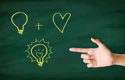Finger point concept. Finger point to light bulb drawn on blackboard Stock Photo