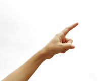 Finger point. Isolated white background Royalty Free Stock Photography