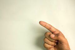 Finger point on screen, isolated white background Stock Image