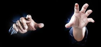 Finger point or touch on screen. Close up finger point or touch with blue jeans concept Stock Photography