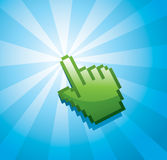 Finger Pointer. An illustration of a green finger pointer generating beams Royalty Free Stock Photography