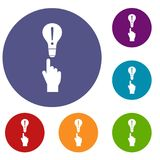 A finger pointer and light bulb icons set. In flat circle reb, blue and green color for web Royalty Free Stock Images